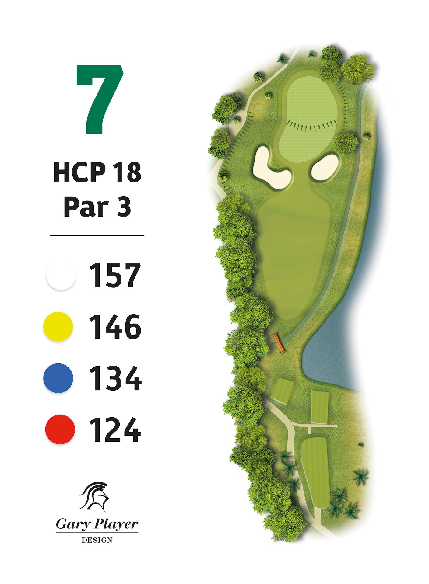 HOLE 7 | This par 3 offers a big green sloping severely from back left to front right. Although the left side would seem the safer side due to the stream on the right, if you miss left you will be faced with a very tricky fast chip.